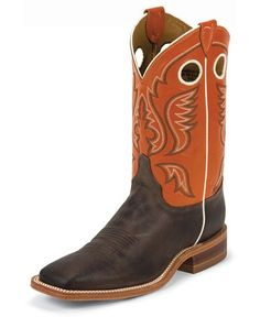 Justin Square Toe Boots | Justin Burnished Orange Cowboy Boots - Square Toe - Sheplers