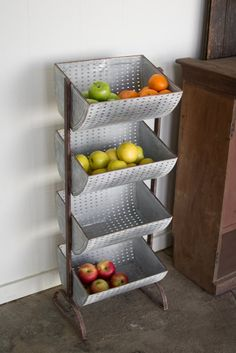 The Kalalou Four Tiered Perforated Metal Display Tower comes with display spaces that are functional as well as appealing to the eyes. With a robust metal frame Kitchen Shelf Design, Kitchen Display, Kitchen Shelves, Kitchen Storage, Kitchen Decor, Kitchen Ideas, Industrial Farmhouse Kitchen, Farmhouse Style, Urban Farmhouse