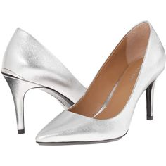 Calvin Klein Gayle (Silver Metallic Grain Leather) High Heels (£61) ❤ liked on Polyvore featuring shoes, pumps, white, white high heel pumps, calvin klein, white pointy-toe pumps, white slip on shoes and white high heel shoes