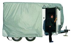 ADCO 46001 SFS Aqua-Shed Bumper-Pull Horse Trailer Cover - 8'-10' Protect your Bumper-pull Horse Trailer with ADCO's SFS AquaShed Horse Trailer Cover. Designed for moderate climates with high moisture. Features triple layer SFS AquaShed top panel and polypropylene sides. Significantly reduces premature aging of trailer and helps maintain resale value. Reduces need for washing, waxing and roof treatments. Trailer Tires, Gooseneck Trailer, Entry Doors, Outdoor Gear, Baby Strollers, Shed, Aqua, Cover Up, Horses