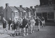 Team out training walk past Sam Bartrams Sports Shop in Floyd Road Charlton Charlton London, Charlton Athletic, Sports Shops, Old Pictures, Training, Photos, Shopping, Antique Photos