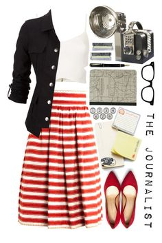 """""""The Journalist"""" by artsychick75 ❤ liked on Polyvore featuring Dolce&Gabbana, Topshop, Charlotte Olympia, Cavallini & Co., Aidan Gray and Fountain"""