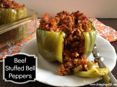Check out these quick and easy beef stuffed peppers.  This is a great week night dinner for any size family, very healthy and simple to make.