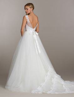 Ivory bridal ball gown, beaded illusion bateau neckline with sweetheart underlay, sparkle chantilly lace accented throughout bodice, ribbon belt at natural waist, sparkle tulle skirt and ruffled lace detail at train Bridal Gowns from Lovelle By Lazaro - Bridal Style LL4508 by JLM Couture, Inc.