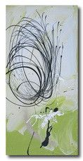 abstract art canvas painting lime green white black wall art