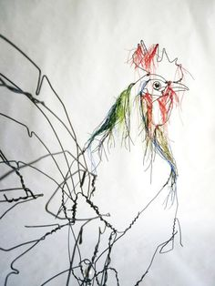 Another poultry themed art work. I love this also - the slightly abstract shape, the coloured threads around the head and neck, the realistic face. (scheduled via http://www.tailwindapp.com?utm_source=pinterest&utm_medium=twpin&utm_content=post178409517&utm_campaign=scheduler_attribution)