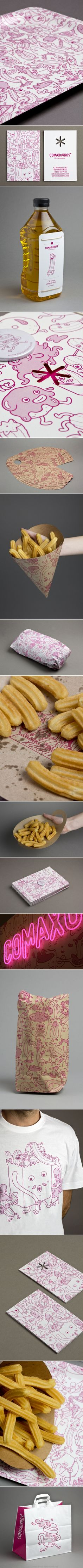 Comaxurros its a new concept of xurreria. A churro, sometimes referred to as a Spanish doughnut #packaging #branding PD - created via http://pinthemall.net
