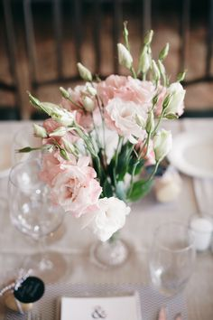 pink wedding flowers, good for small tables perhaps.