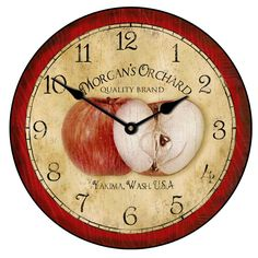 Large wall clocks. Red Vintage Apple #Clock Home Decor. Many Sizes Available. Starting at only $44.00 http://thebigclockstore.com/