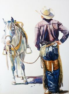 Watercolour Paintings of horses, rodeo, ranch and rural Canadian life