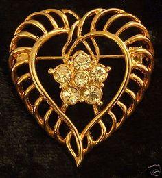 Unusual Vintage Rhinestone Heart Brooch Pin