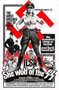 "Film poster for the 1975 ""Nazisploitation"" film Ilsa, She Wolf of the SS"
