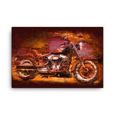 Harley Davidson Fat Boy Dark - giclee on canvas Expressionism, Oil On Canvas, Harley Davidson, Cool Art, Fat, Motorcycle, Paintings, Art Prints, Creative
