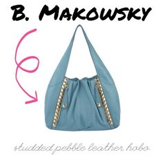 B. Makowsky Blue Pebble Leather Hobo Turquoise leather hobo with pyramid studs. Really fun bag! MINT condition- only carried once or twice. B. Makowsky Bags Hobos