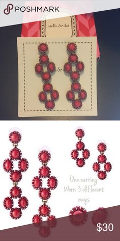 """Stella & Dot Sardinia  3 in 1 Chandelier Earrings Like new only worn a couple times. Comes in original box. Can be worn 3 different ways. As a stud, 1 chandelier or two chandeliers. 3"""" drop w/ 2 chandelier. #JEWELRY #POSHMARK #FASHION #DIVA #STYLE  #BLING #FASHIONISTA #COWGIRL #CITYGIRL #BEACHGIRL #WESTERN #CHIC #FAITH #RUNWAY #CROSS #TRIBAL #BOHO #PRETTY #DESIGNERINSPIRATION #SPARKLE #SHINE #SPARKLEANDSHINE #CHIC ❤️🛍🌈🦄💄💋 #STELLAANDDOT Stella & Dot Jewelry Earrings"""