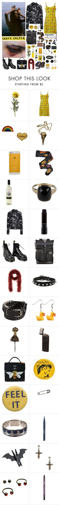 """""""Uncontroling girl: I can't be pretty cause I'm crazy, but I just wanna try"""" by nothingisnormal ❤ liked on Polyvore featuring Pier 1 Imports, Versace, Me & Zena, Pamela Love, HYD, SLY 010, MAC Cosmetics, Dr. Martens, Tumi and Prada"""