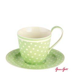 Greengate cup & saucer spot green