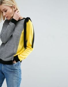 ASOS Jumper In Colour Block With Ties