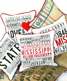 mississippi pillows from catherine ann herrington - graphic design and fine arts studio