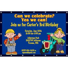 Bob the Builder Birthday Party Invitations Digital by PartiesR4Fun, $12.00