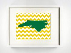 Charlotte North Carolina State Giclée Print  8x10  by PaintedPost, $15.00 #paintedpoststudio - University of North Carolina Charlotte - UNC - 49ers- What a great and memorable gift for graduation, sorority, hostess, and best friend gifts! Also perfect for dorm decor! :)