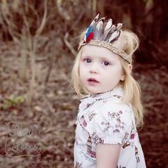Feathered Princess Boho Headband on Child by Livvy Loops