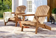 Wood Adirondack Chairs, Outdoor Chairs, Outdoor Decor, Rustic Furniture, Diy Furniture, Outdoor Furniture, Birch Lane, Solid Wood