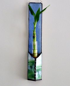 Ice Blue Stained Glass Bamboo Panel Lucky Plant Wall by miloglass