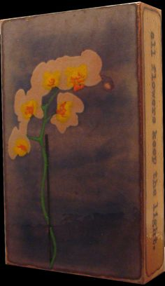 """RETRIED 020 """"Tend Her"""" Spiritile by Houston Llew. Quote- """"Deep in their roots all flowers keep the light."""" - Theodore Roethke. This """"tender"""" orchid tile is lovely with it's soft, watercolor like, pallet.  Gifted tiles celebrate cherished memories with those you love. Wall hung or stood alone, indoors or out, they will never fade or tarnish. It's beauty that can be passed down through generations. The current collection can be purchased at Quirks of Art. $115 each."""