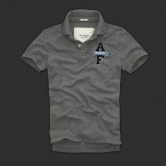 """Abercrombie & Fitch Men's """"AF"""" Logo Short Sleeve Polo Shirt in Grey"""