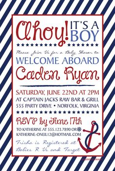 Printable Ahoy It S A Boy Baby Shower Invitation By Hillandhoney