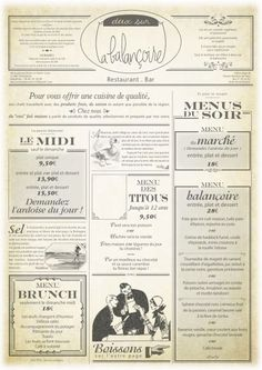 Menu de restaurant façon journal vintage - Deux sur la Balançoire - Toulouse. France French Restaurant Menu, Carta Restaurant, Restaurant Bistro, Restaurant Identity, Restaurant Menu Design, French Restaurants, Menu Resto, Mini Banner, Wood Menu