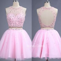 Pink Tulle Two Piece Homecoming Dress, High Neck Illusion Cocktail Dress With Sequins