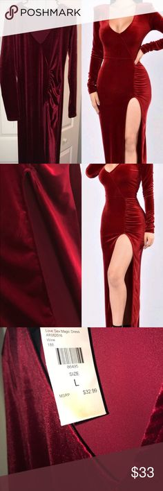 Red Velvet dress w/slit!  Perfect for Valentine's day! Dark red/Wine in color. Size Large. Only worn to try on. Velvet feel; 100% polyester. Thigh high slit and shoulder pads. Fashion Nova Dresses