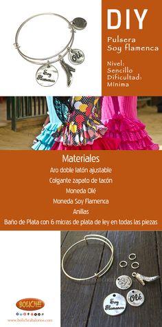 Diy: Pulsera Soy flamenca Materiales Aro doble latón ajustable Colgante zapato de tacón Moneda Olé Moneda Soy Flamenca Anillas de latón Materiales  Baño de Plata con 6 micras de plata de ley en todas las piezas