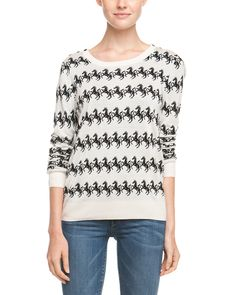 Spotted this French Connection Horse Brule & Black Print Knit Sweater on Rue La La. Shop (quickly!).