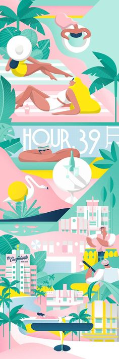 Hyatt Hotels, The Confidante Miami Beach on Behance Beach Illustration, Digital Illustration, Graphic Illustration, New York Illustration, Miami Beach, Cubes, Beach Color, Up Book, Branding