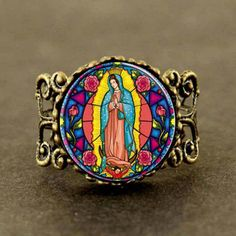 Steampunk Our Lady of Guadalupe Virgin Mary Sacred Heart Religious Stained Glass Bezel Art Ring jewelry new #Affiliate
