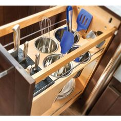 Rev-A-Shelf Pull-out Knife and Utensil Base Organizer with Blumotion Soft Close