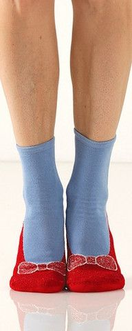 "No one in Oz or Kansas was ever so comfortable as you'll be in these soft, terry cloth knit slipper socks with non-skid soles.  Click your heels together three times and repeat, ""there's no place like home!"""
