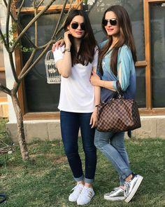Aiman and minal lovely sisters Pakistani Dress Design, Pakistani Outfits, Girl Fashion, Fashion Outfits, Womens Fashion, Fashion Trends, Trendy Fashion, Celebrity Siblings, Aiman Khan
