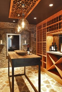 #wine room - great floor and tasting table - Every #home should have a wine room with the #rustic feeling!