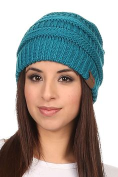 24b83204221 Women s Solid Colored Knitted Warm Plush Beanie Cap - Teal - CF12MZIPABC -  Hats  amp