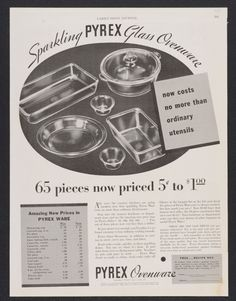 Vintage #Pyrex black and white ad