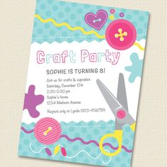 Craft Party Invitation Birthday Printable Personalized (Digital File) on Etsy, $16.00