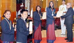 President Pranab Mukherjee presenting Rajiv Gandhi Khel Ratna Award to P V Sindhu for Badminton Sakshi Malik for Wrestling Jitu Rai for Shooting and Dipa Karmakar for Gymnastics during award ceremony at Rashtrapati Bhawan in New Delhi on Monday. (UNI )