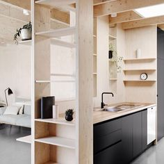 apartment unit interior black matte plywood kitchen shelving skylight
