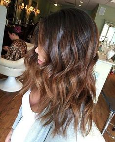 brown hair with caramel balayage