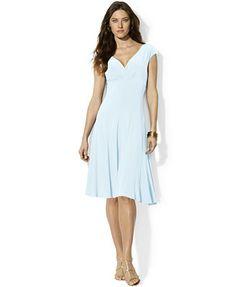 Lauren Ralph Lauren Paneled Cap-Sleeve Dress