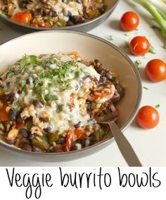 **added zucchini, added cumin, no cheese, made cilantro lime rice. Yummo! Veggie burrito bowls